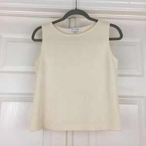 St. John top sleeveless shell ivory Santana knit